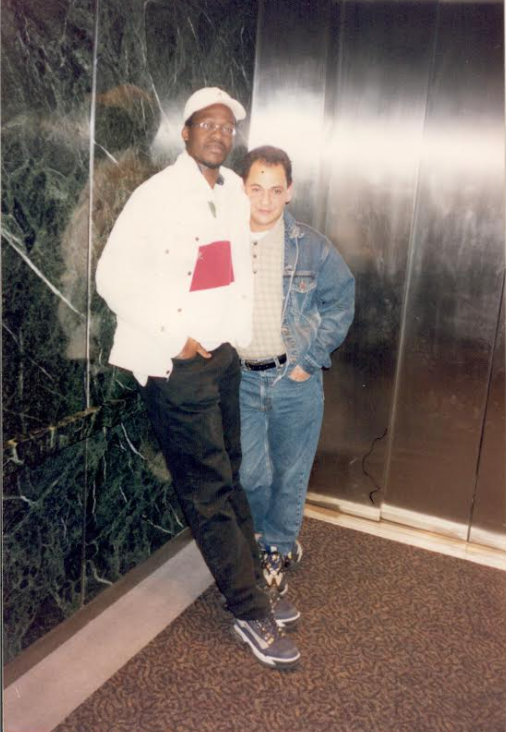Dr. Siby (left) with his good friend, Isidro Ottenwalder, standing on the WTC elevator. Three months before 9/11, Ottenwalder earned his U.S. citizenship and got married. He perished on 9/11.