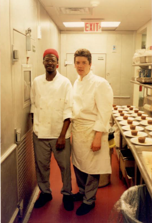 Dr. Siby (left) with fellow sous chef, Chris, at the Windows on the World's garde-manger station.